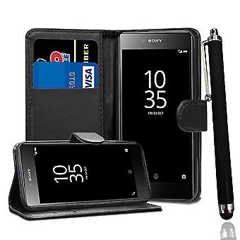 For Sony Xperia Z5 - Black Stand Wallet PU Leather Case with Stylus Pen by i-Tronixs