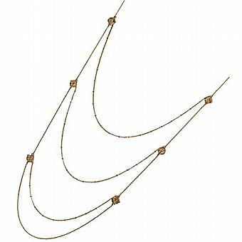 Peace of Mind Goldtone Smokey Glass Beads Multi Strand Chain 36