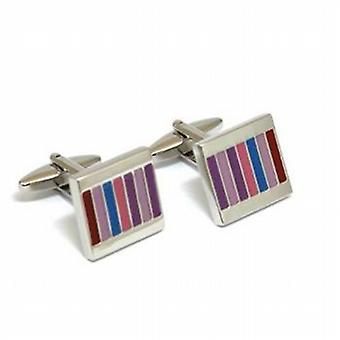 The Olivia Collection Silvertone Multicoloured Enamel Coated Stripes Cufflinks