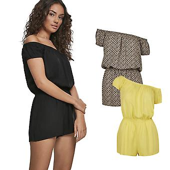 Urban Classics Ladies-Off Shoulder Short Summer Jumpsuit