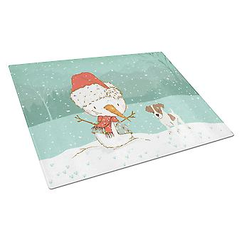 Jack Russell Terrier #2 Snowman Christmas Glass Cutting Board Large