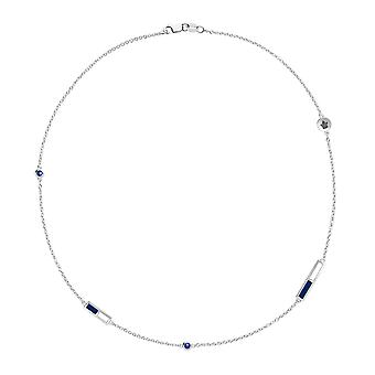Toronto Maple Leafs - Maple Leafs Logo Engraved Sapphire 5 Station Necklace In Blue And White