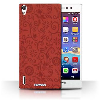 STUFF4 Case/Cover for Huawei Ascend P7 LTE/Red Flower/Floral Swirl Pattern