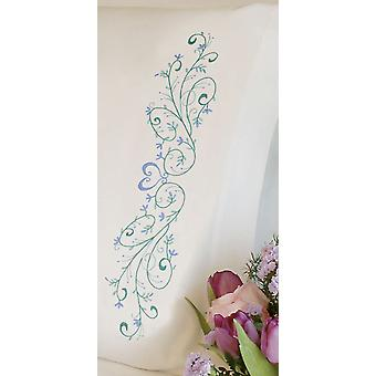 Filigree Scroll Pillowcase Pair Stamped Embroidery 20
