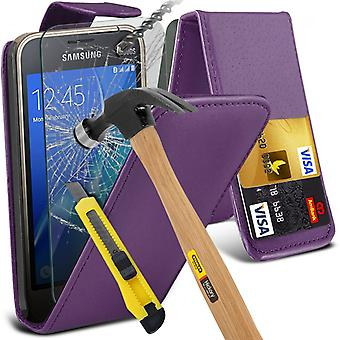 i-Tronixs Samsung Galaxy J5 2016   PU Leather Flip Case Cover + Glass Screen Protector -Purple