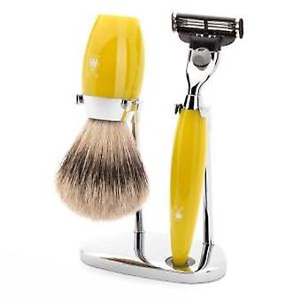 Muhle Kosmo Yellow Mach3 Razor and Silvertip Badger Brush Shaving Set