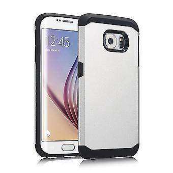 Täcka rustning 2 PC plast-delar, gummi TPU case för Samsung Galaxy S6 Edge (Silver)