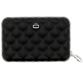 Ogon Black Quilted Zipper Aluminium Purse