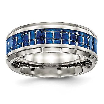 8mm Stainless Steel Polished Blue White Carbon Fiber Inlay Ring - Size 8.5