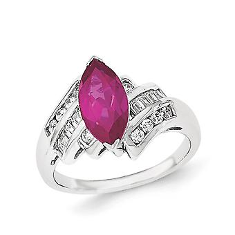 Sterling Silver Synthetic Ruby and Cubic Zirconia Marquise Ring - Ring Size: 6 to 8