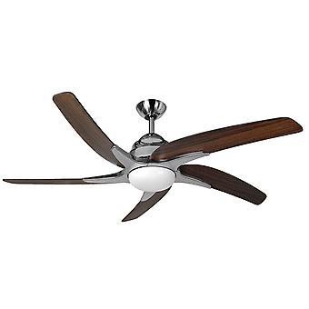 Ceiling fan Viper Plus Stainless Steel / dark oak with lighting 137 cm / 54