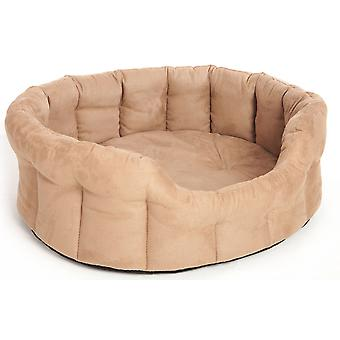 Premium Oval Drop Front Softee Bed Faux Suede Tan Size 6 97x74x25cm