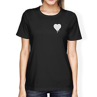 Melting Heart Women's Black T-shirt Lovely Design Round-Neck Shirt