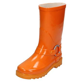 Girls Spot On Ring Trim Wellington Boots