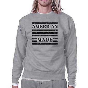Amerikan gjort Unisex grå grafiska Sweatshirt för fjärde juli