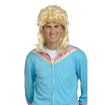 Wig mullet light blonde hair 80's