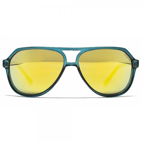 Guess Studded Aviator Sunglasses In Teal Gold Mirror - GU7307 TL 4