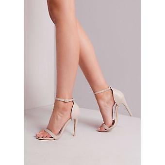 Fastspänd knappt där Högklackade Sandaler krossad sammet guld rosa