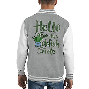 Hello From The Oddish Side Pokemon Kid's Varsity Jacket