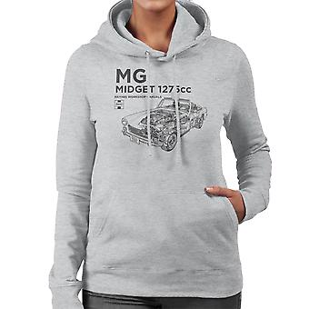 Haynes Workshop Manual MG Midget 1275cc Black Women's Hooded Sweatshirt