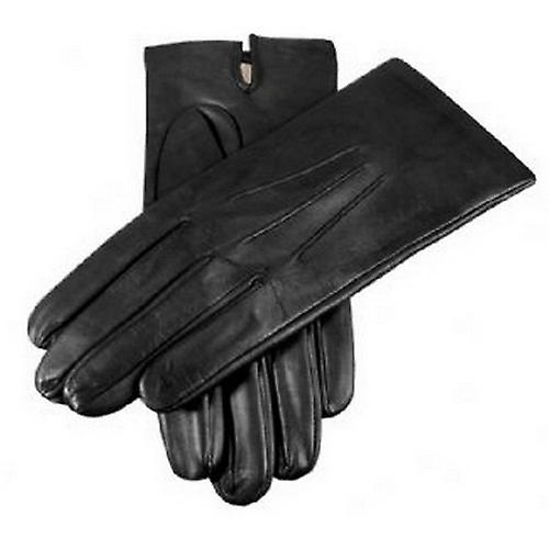 Dents Plain Silk Lined Leather Gloves - Black