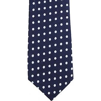 Knightsbridge Neckwear Polka Dot Cotton Skinny Tie - Navy/Blue