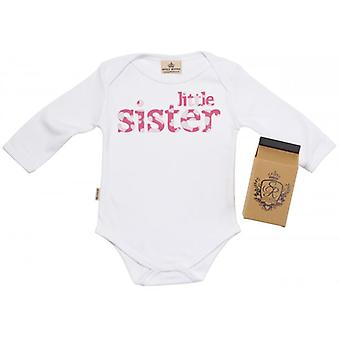 Spoilt Rotten Little Sister Baby Grow 100% Organic In Milk Carton