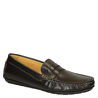 Lux brown leather driving moccasins shoes for men