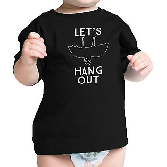 Laten we hangen Bat grappige Baby Tshirt Black Baby eerste Halloween