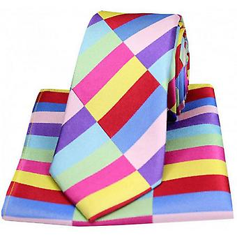 Posh and Dandy Rectangle Pattern Tie and Pocket Square Set - Multi-colour