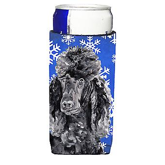 Black Standard Poodle Winter Snowflakes Ultra Beverage Insulators for slim cans