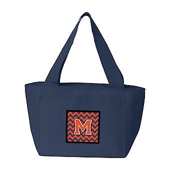 Carolines tesori CJ1042-MNA-8808 lettera M Chevron arancione e blu Lunch Bag