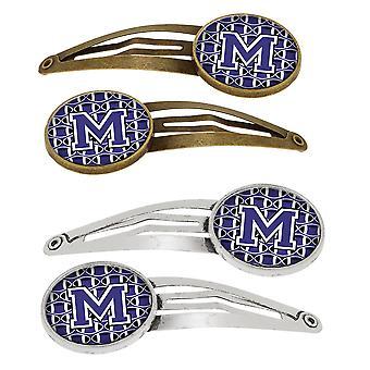 Lettera M calcio viola e bianco Set di 4 mollette capelli clip