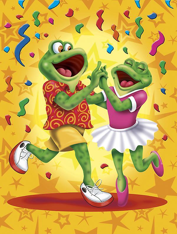 Carolines trésors APH3874CHF grenouille Swing danse drapeau Taille du canevas maison
