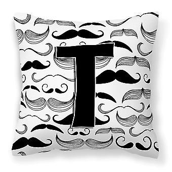 Letter T Moustache Initial Canvas Fabric Decorative Pillow