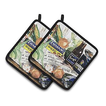 Carolines Treasures  1002PTHD Barq's, Crabs, and spices Pair of Pot Holders