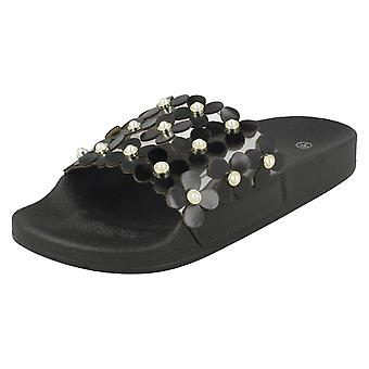Ladies Spot On Flower Trim Sliders F00089