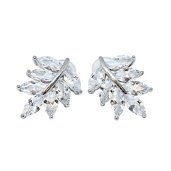 Leaf Shaped Silver Plated Clear Cubic Zirconia Stud Earrings