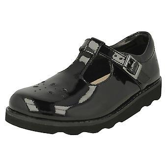 Girls Clarks Classic T-Bar Shoes Crown Wish - Black Patent - UK Size 11 G - EU Size 29 - US Size 11.5 W