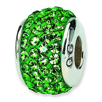 Sterling Silver Polished Reflections Green Full Crystal Bead Charm