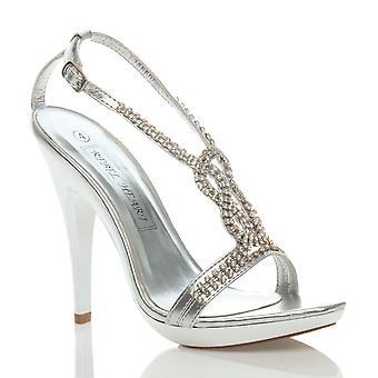 Ajvani kvinders højhælede diamante strappy bryllup brude prom platform sandaler