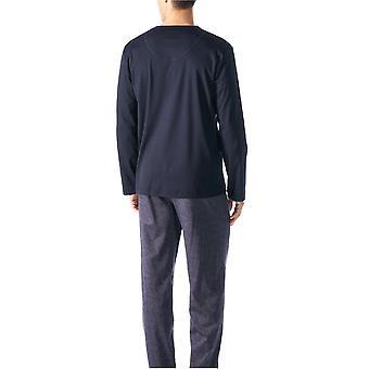 Mey 18181 Men's Indigo Blue Geometric Print Cotton Long Sleeve PJ Set