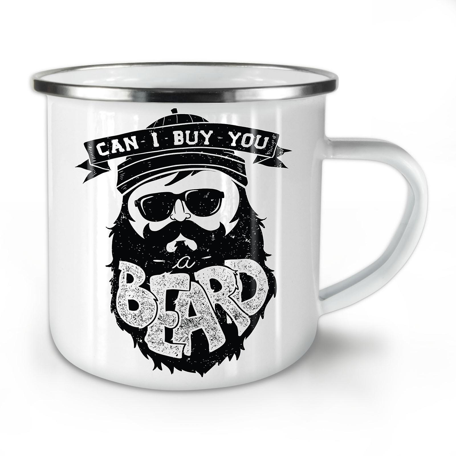 Can I Buy You Beard NEW WhiteTea Coffee Enamel Mug10 oz | Wellcoda