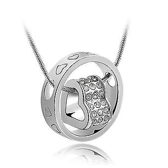 Womens collar corazón hermoso rodeada por círculo colgante BGCW0056