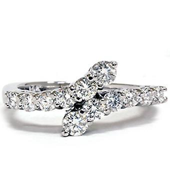 3 / 4ct diamante viaggio Bypass mano destra anello in oro bianco
