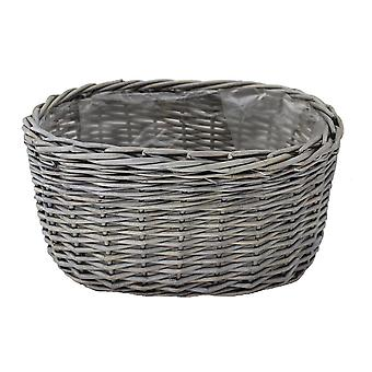 Medium Oval Antique Wash Wicker Planter