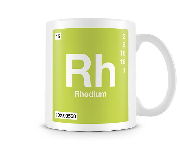 Element Symbol 045 Rh - Rhodium Printed Mug