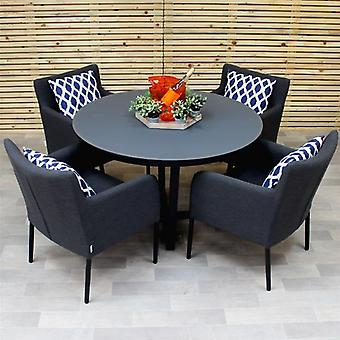Maze Lounge Hadid 4 Seat Round All Weather Fabric Garden Furniture Set