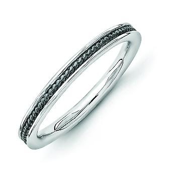 2.25mm Sterling Silver Rhodium-plated Ruthenium plating Stackable Expressions Black-plated Channeled Ring - Ring Size: 5