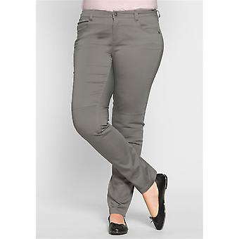 sheego casual stretch trousers in the biker look grey